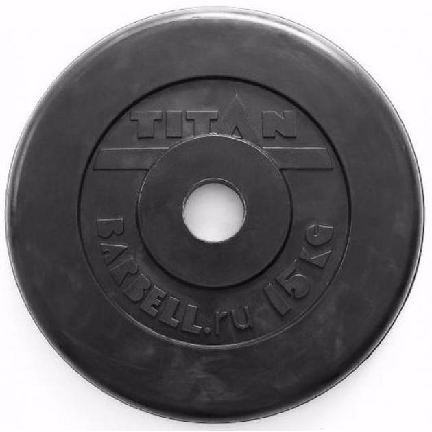 Обрезиненный диск Titan d 51 мм черный 15 кг