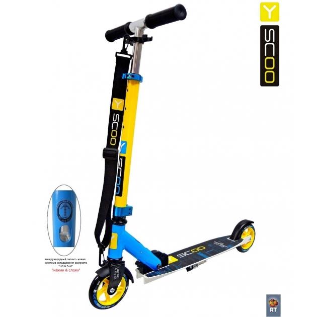 Самокат Y-scoo rt 125 mini city montreal yellow blue 4417