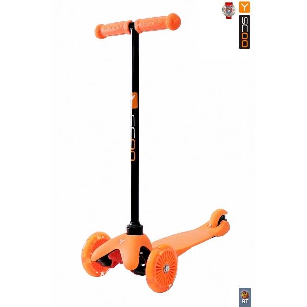 Самокат Y-scoo mini a 5 shine orange со светящими колесами 4523