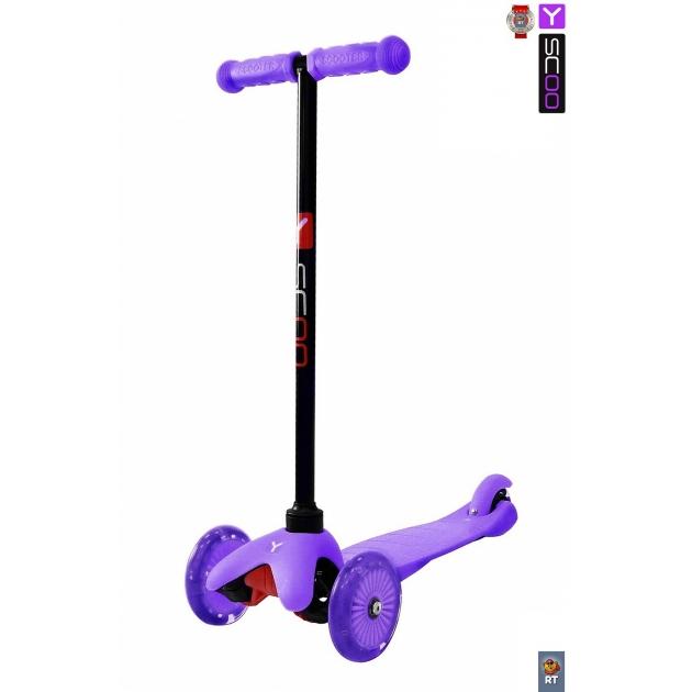 Самокат Y-scoo mini a 5 shine purple со светящими колесами 4524
