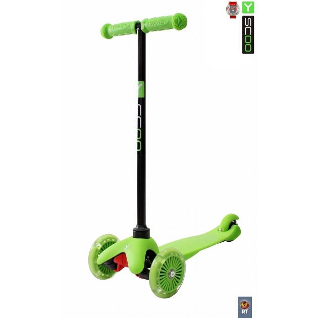 Самокат Y-scoo mini a 5 shine green со светящими колесами 4525