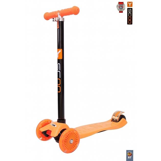 Самокат Y-scoo maxi a 20 shine orange со светящими колесами 4530