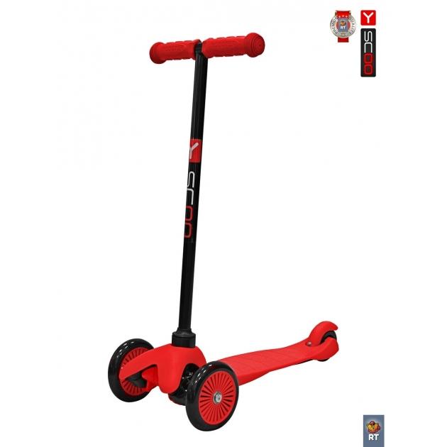 Самокат Y-scoo mini a 5 simple red с цветными колесами 4900