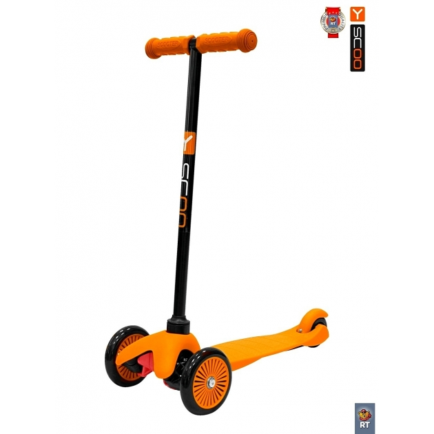 Самокат Y-scoo mini a 5 simple orange с цветными колесами 4901