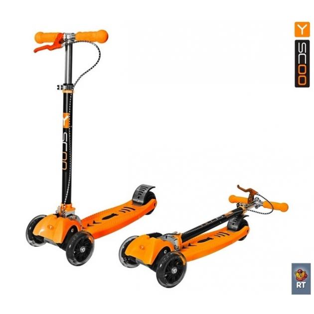 Самокат Y-scoo maxi city rt simple gagarin трансформер с ручным тормозом orange 4962