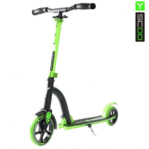 Самокат Y-scoo rt 180 slicker с амортизатором deluxe green 5383