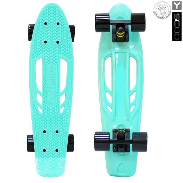 Скейтборд Y scoo skateboard fishbone с ручкой 22 винил 56 6х15 с сумкой aqua black 5822