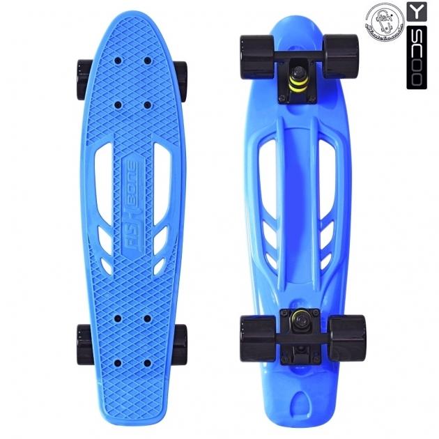 Скейтборд Y scoo skateboard fishbone с ручкой 22 винил 56 6х15 с сумкой blue black 5824