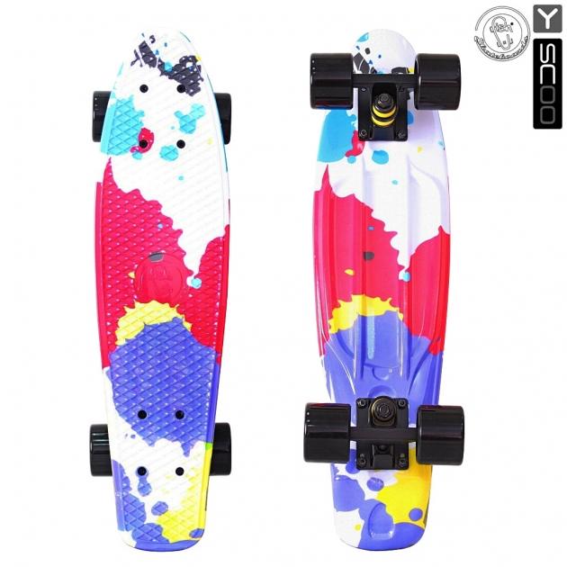 Скейтборд Y-scoo fishskateboard print 22 винил 56 6х15 splatter 401g sp 5826