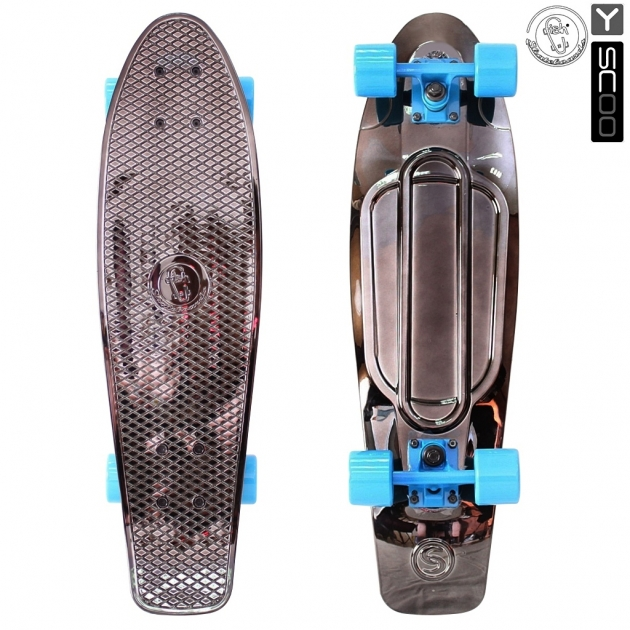 Скейтборд Y scoo big fishskateboard metallic 27 винил 68 6х19 с сумкой black bronzat blue 5922