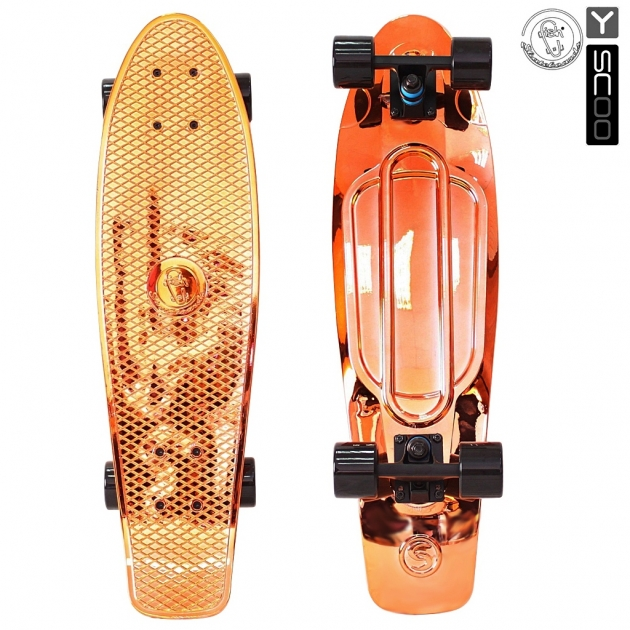 Скейтборд Y scoo big fishskateboard metallic 27 винил 68 6х19 с сумкой orange black 5923