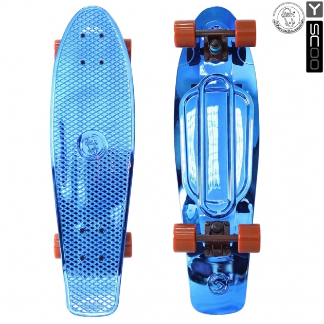 Скейтборд Y scoo big fishskateboard metallic 27 винил 68 6х19 с сумкой blue brown 5924