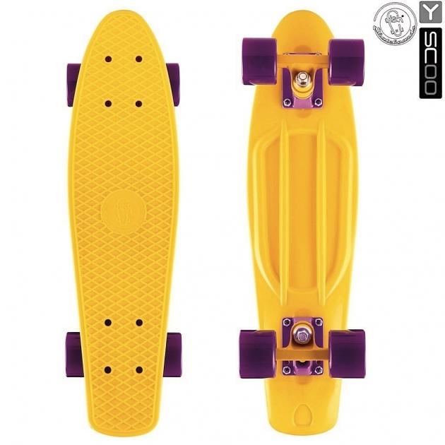 Скейтборд Y-scoo big fishskateboard 27 винил 68 6х19 yellow/dark purple 402 y 5925