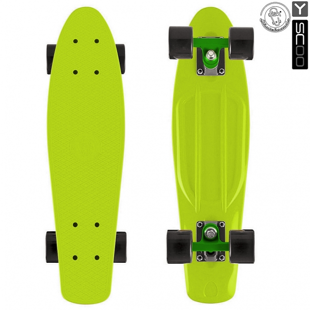 Скейтборд Y-scoo fishskateboard 22 винил 56 6х15 lime/black 401 l 5984