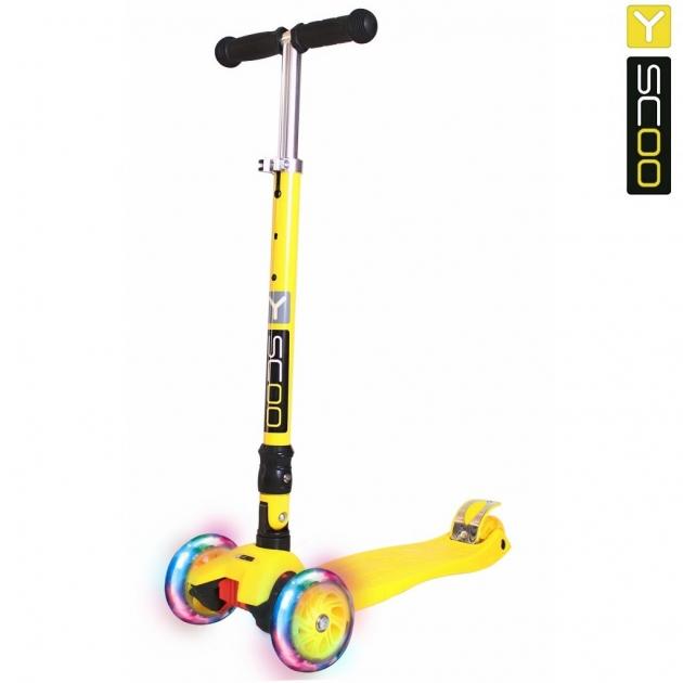 Самокат Y scoo 35 maxi fix shine yellow со светящимися колесами 6104