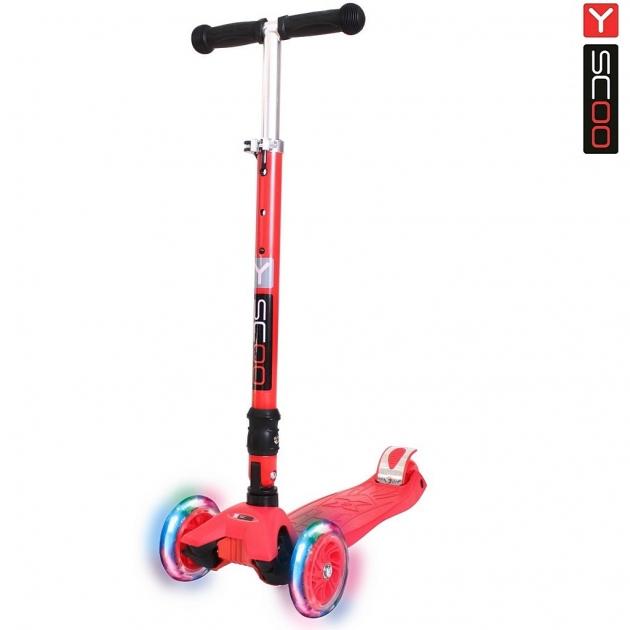 Самокат Y scoo 35 maxi fix shine red со светящимися колесами 6105