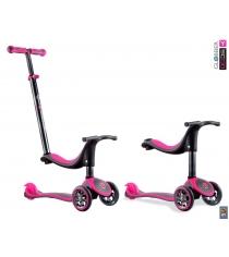 Самокат Y-scoo rt globber my free seat 4 in 1 titanium neon pink 4851