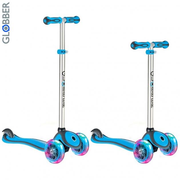 Самокат Globber primo plus с 3 светящимися колесами cyan blue 6475