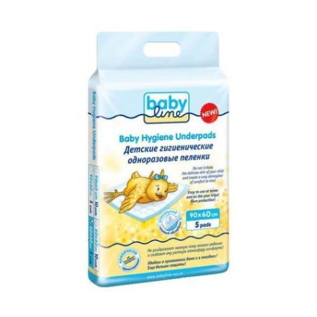 Пеленки детские Babyline с гелевым абсорбентом 60х90 5 шт