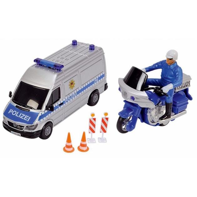 Полицейская машинка и мотоцикл Dickie с дорожными знаками 3314044