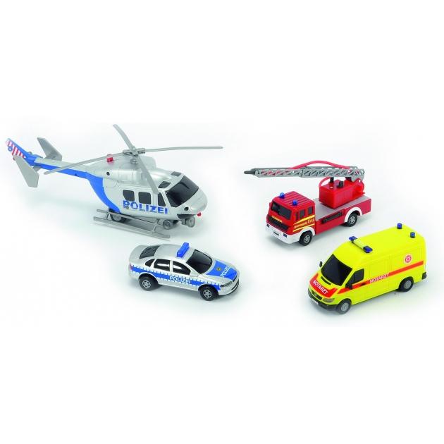 Гараж Dickie с вертолетом и 3 машинами службы спасения Пожарная Полиция  Скорая помощь 3314134