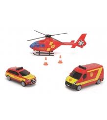 Набор из машинок и вертолета Dickie Пожарная охрана фрикционный с сиреной 331492...