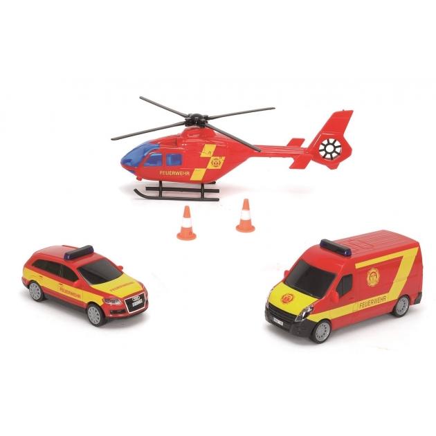 Набор из машинок и вертолета Dickie Пожарная охрана фрикционный с сиреной 3314927