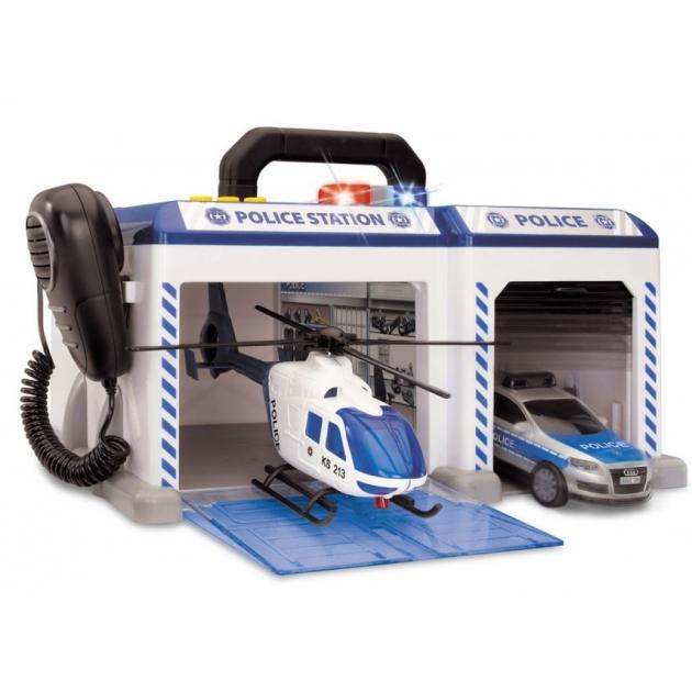 Набор из машинок и вертолета Dickie Полиция фрикционный с сиреной 3314927