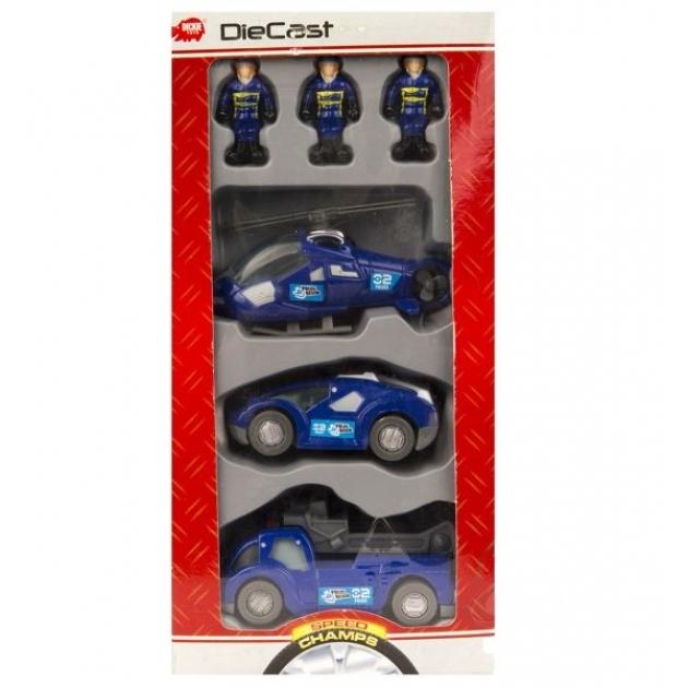 Спасательный набор Dickie синий вертолет 2 машинки и фигурки людей 3315405