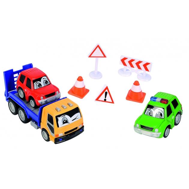 Набор дорожной техники Dickie желтый эвакуатор с веселыми машинками и дорожными знаками 3315904