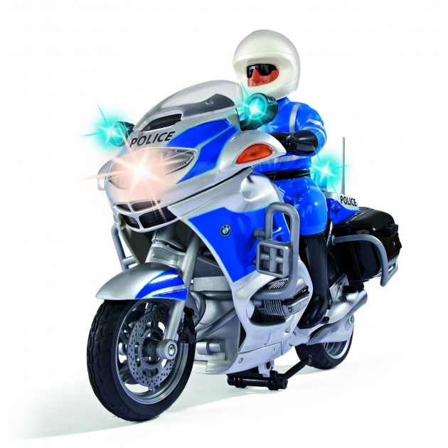 Мотоцикл Dickie фрикционный 20 см синий со светом и звуком 3383025