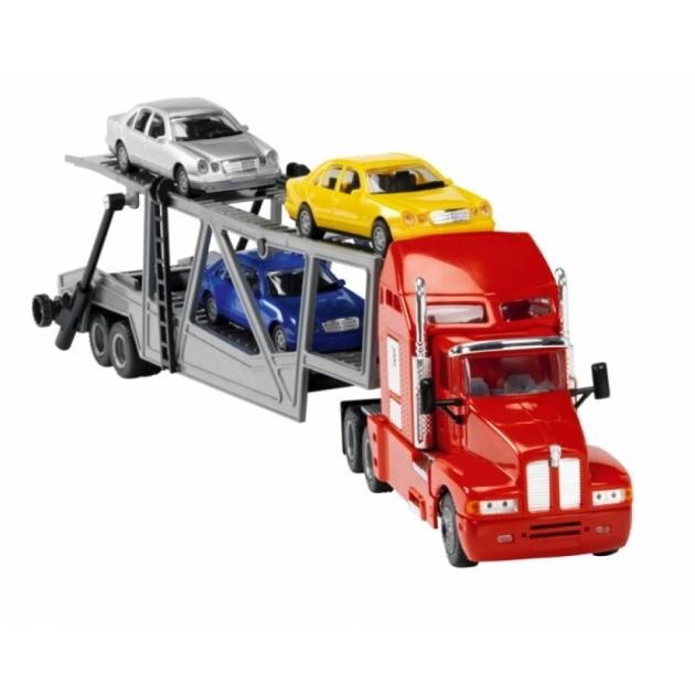 Трейлер Dickie большой 59 см с 3 машинками красная 3414481