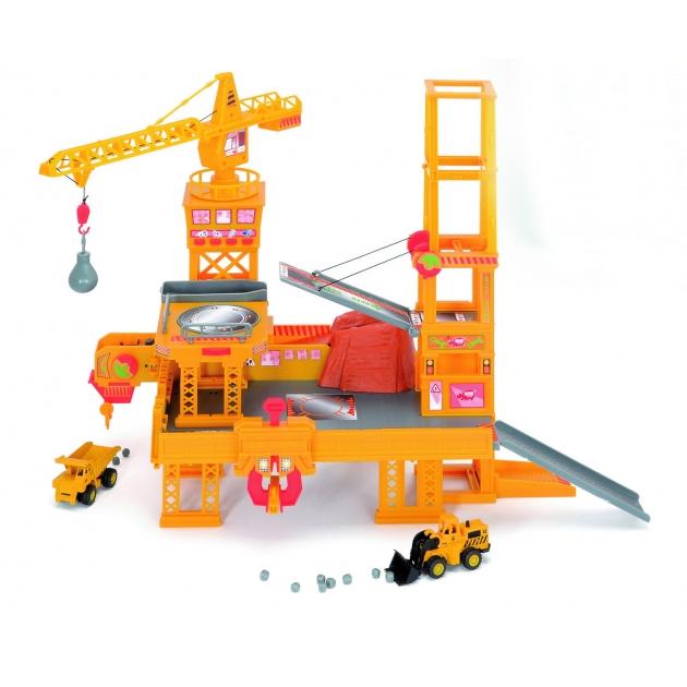 Детская строительная площадка со звуком Dickie с большим строительным краном и 2 машинами 3608350