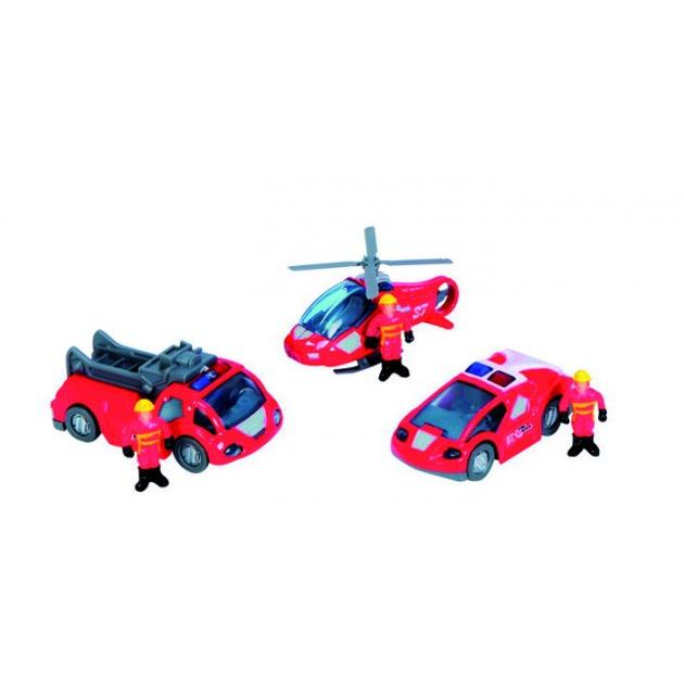 Dickie красный вертолет 2 машинки и фигурки людей 3315405