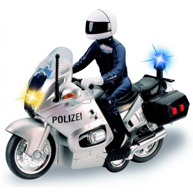 Полицейский мотоцикл Dickie белый фрикционный со светом и звуком 3383749