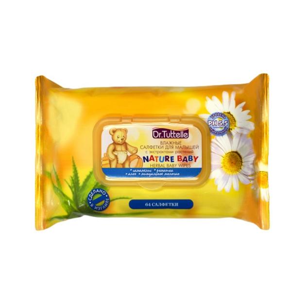 Влажные салфетки для малышей с экстрактами растений Dr. Tuttelle 64 шт