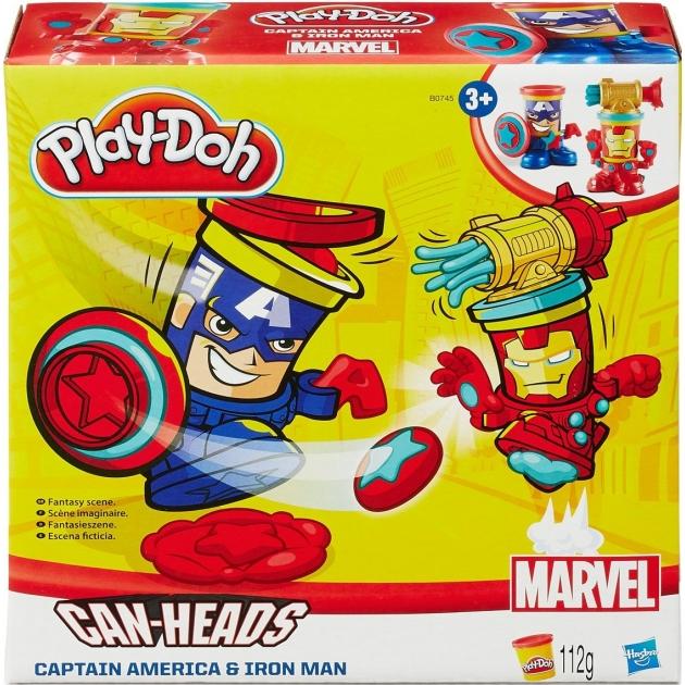 Игровой набор пластилина Hasbro Play Doh фигурки герои Марвел Железный Человек и Капитан Америка B0594