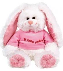 Мягкая игрушка кролик в майке я тебя люблю 35 см 7 49652
