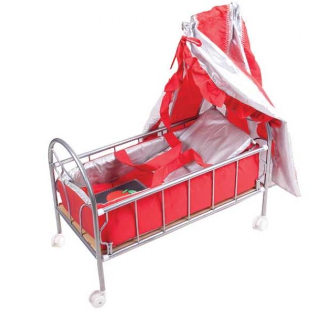 Кроватка для куклы на колесиках красная со светящимся логотипом яблочко Gulliver 548