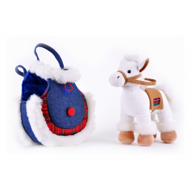Мягкая игрушка лошадка в джинсовой сумочке два цвета в ассортименте 22 см 21 911641