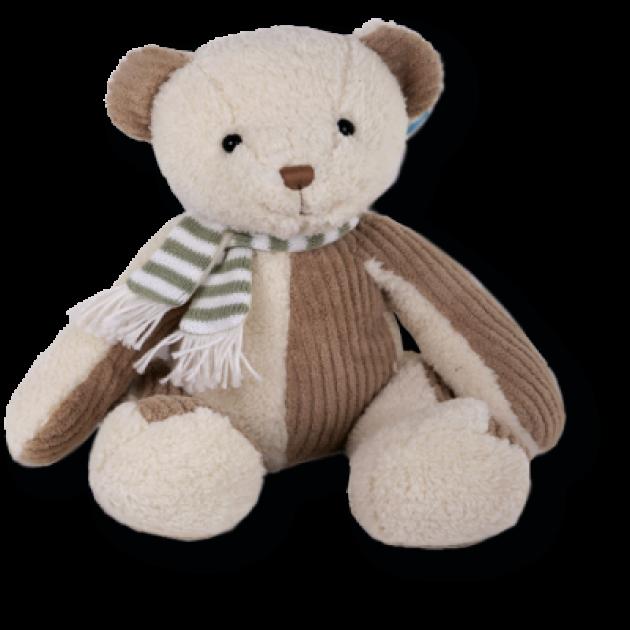 Мягкая игрушка мишка с вельветовыми вставками в шарфике 30 см 14 71566