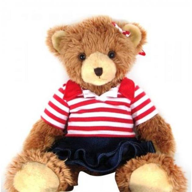Мягкая игрушка мишка в полосатой футболке и джинсовой юбке 25 см 18 3105a 1