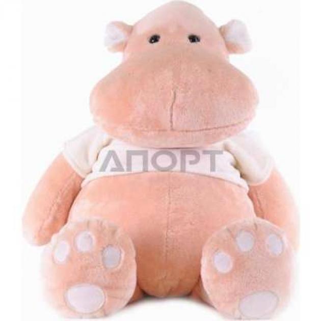 Мягкая игрушка бегемот персик в майке сидячий 23 см 7 5332