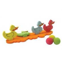 6069 Игра на ловкость Сбей утенка  1основа, 4 утёнка, 4 мяча  Ouaps 64008