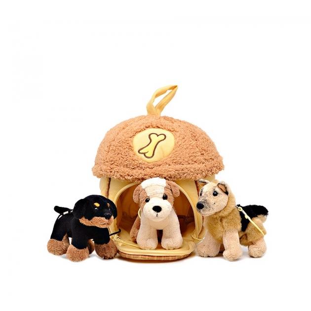 Мягкая игрушка домик сумка с тремя собачками 15х16 см 21 912051