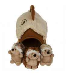 Мягкая игрушка домик сумка с тремя ежиками 15х16 см 21 915051