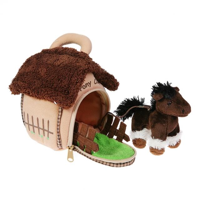 Мягкая игрушка домик сумка с лошадкой 15 см 21 912080