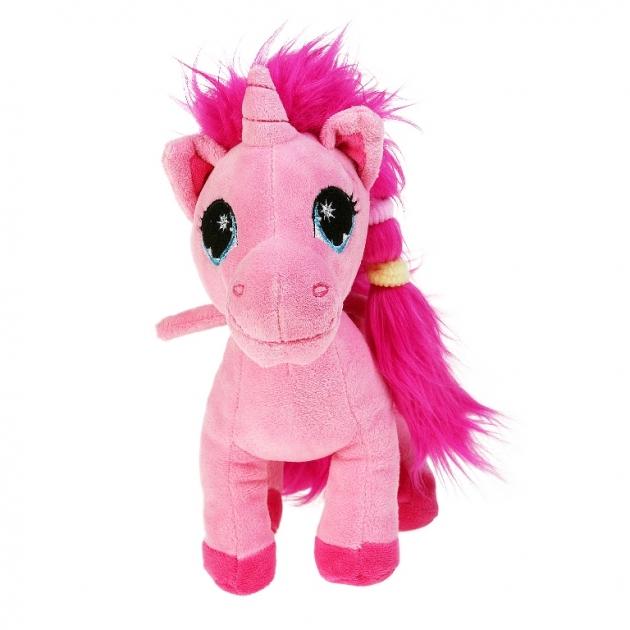 Мягкая игрушка единорог розовый с пушистой гривой 25 см 7 53001