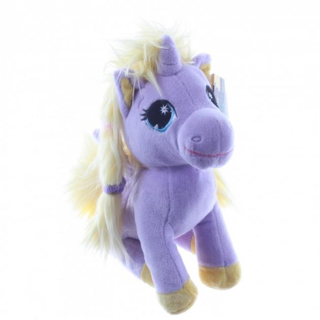 Мягкая игрушка единорог сиреневый с пушистой гривой 25 см 7 52990