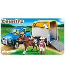 Playmobil серия конный клуб Джип с трейлером для перевозки лошадей 5223pm...